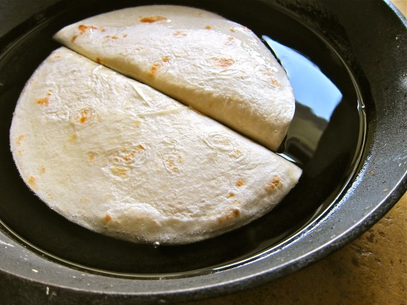 Frying tortillas