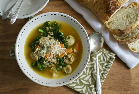 Recipe: Sausage, kale and farro soup