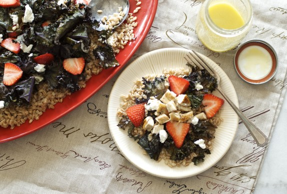 Recipe: Roasted red kale and farro salad